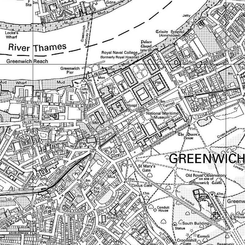 Greenwich b&w map